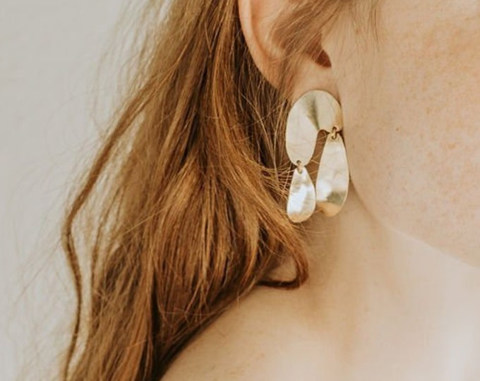 Featured listing image: F l o a t : Abstract Brass Geometric Drop Dangle Stud Earrings