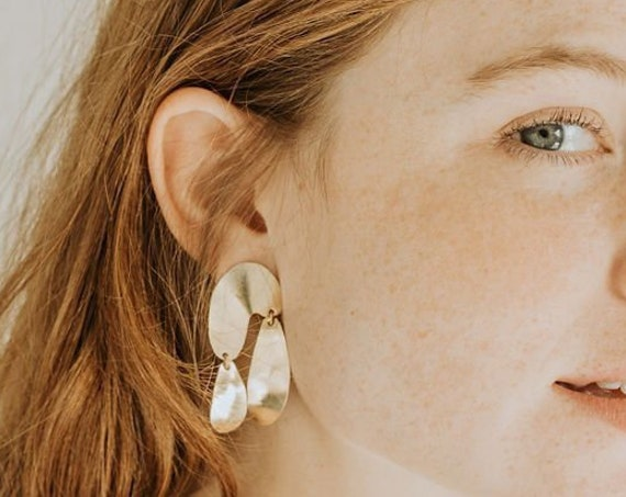F l o a t : Abstract Brass Geometric Drop Dangle Stud Earrings