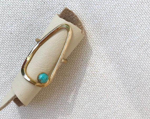 P R I M I T I V E  Hammered Brass Opal Oval Ring