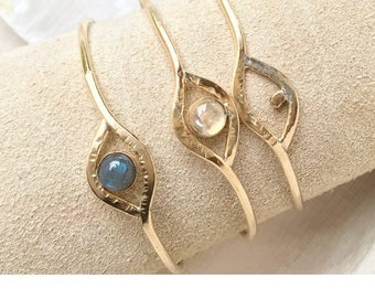 M Y S T I C : Geometric Hammered Brass Eye Gemstone Cuff