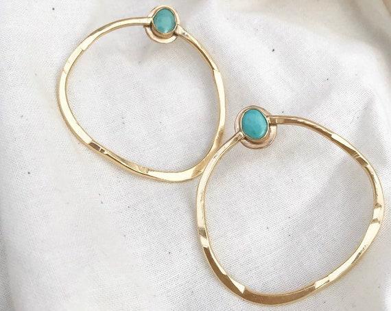 I N L E T  : Abstract Geometric Hammered Brass Stud Gemstone Earrings