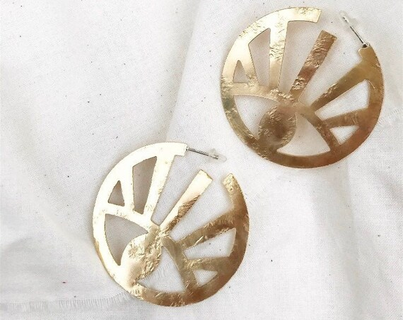 H Y P  N O T I Z E ~~ Brass Statement Geometric Rising Sun Eye Hoops