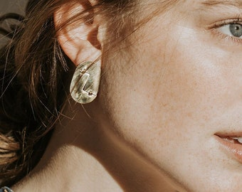 M i r r o r s : Geometric Statment Brass Abstract Stud Earrings