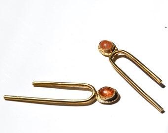 T I L T // Asymmetrical Sunstone Arc Long Stud Earrings