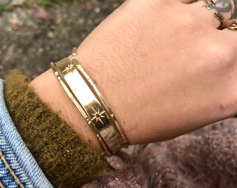 Constellation C U F F : Hand stamped Star Brass Cuff