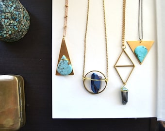 Custon for Lilypup Tear Drop Island >< Bright Turquoise and Brass Triangle Pendant Necklace