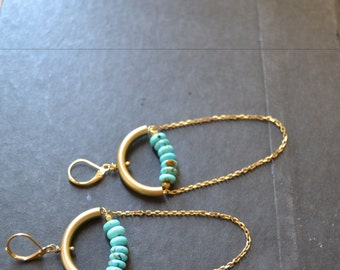 Sunrise|| Moon shaped Turquoise Beaded Dangle Earrings with Brass Arch
