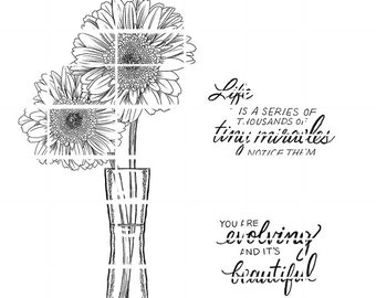 Gerbera Daisies and 2 sentiments - instant download digital stamps by Tierra Jackson