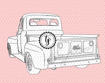 Back side of a Vintage Ford Pickup Truck - instant download digital stamp by Tierra Jackson
