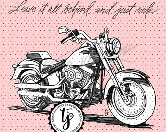Just ride motorcycle - instant download digital stamps by Tierra Jackson
