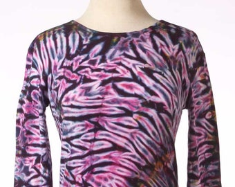 S Shibori Long Sleeve Hand Dyed Tie Dye Women's Shirt Burgundy