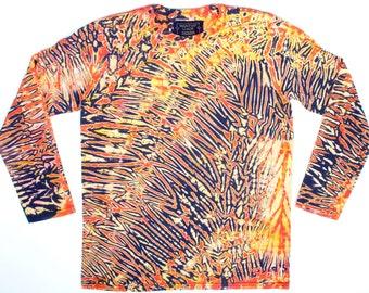 b05acc1e5bc3 Orange Lava M Men s Long Sleeve Tie dye T Shirt
