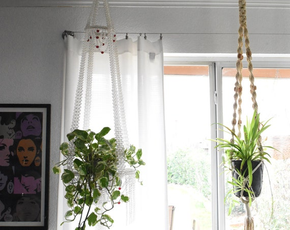 vintage large beaded chandelier hanging plant holder