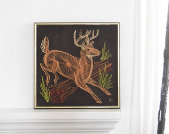 wall hanging christmas reindeer deer metal string art sculpture / folk art / copper
