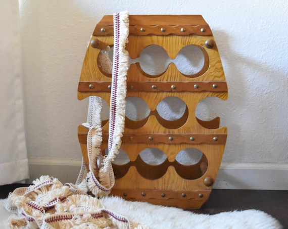 vintage rustic mid century wooden barrel wine rack / bottle storage display