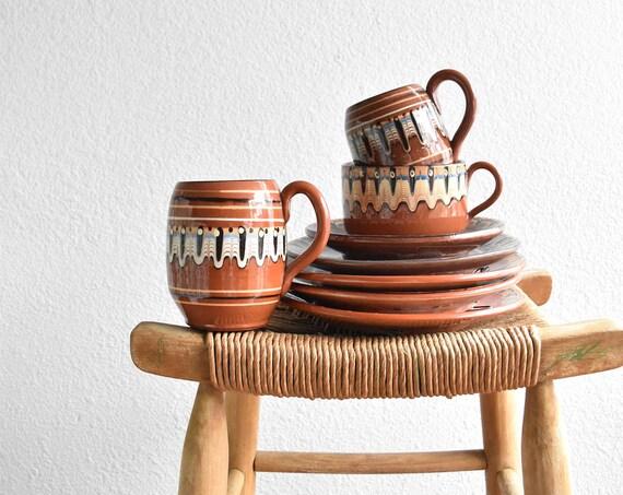 vintage bulgarian drip glaze soup mug / bowl / pottery