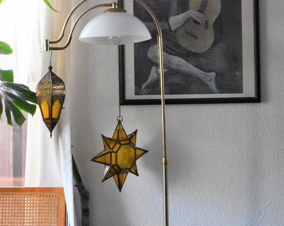 large pressed amber glass brass 3D star candleholder votive hanging lantern ornament
