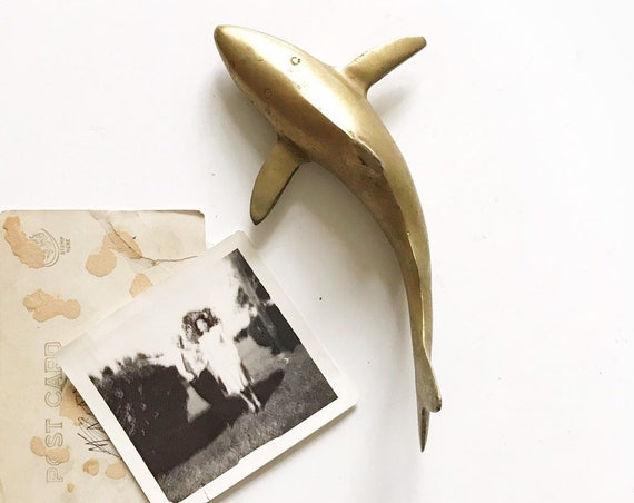 vintage solid brass shark figurine / ocean / coastal decor / office paperweight