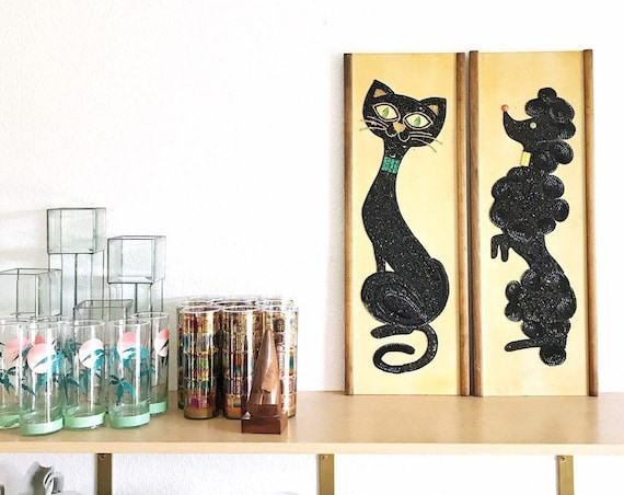 framed retro large wall hanging jewelry rock black cat and dog art | baby nursey decor