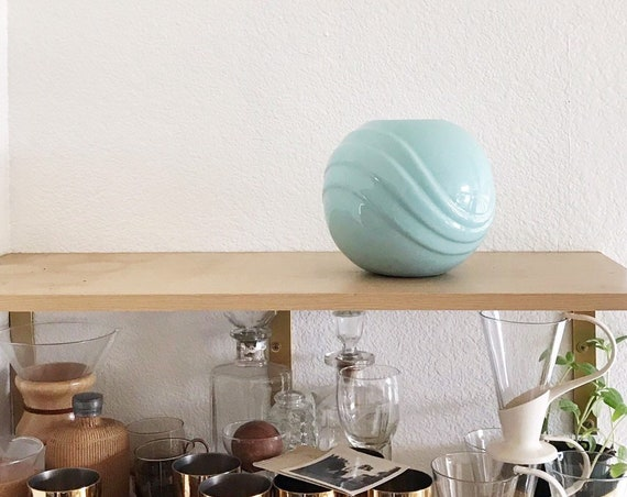 pretty Art Deco turquoise blue orb ceramic vase / aqua flower pot