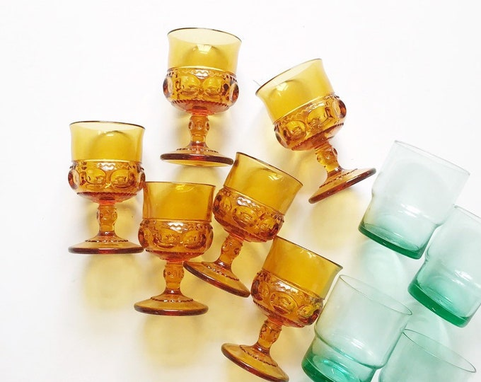 matching set of 6 kings crown depression thumbprint pattern glass goblets | drinking cups barware gift