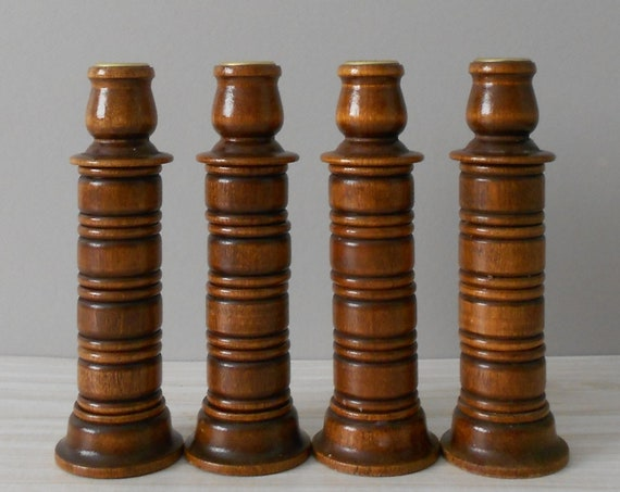 vintage pair of mid century modern wood candle holders and napkin rings all in one   candlestick holder set