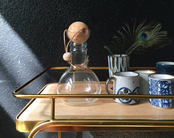 large laboratory pyrex glass beaker / decantor / cork ball / modern carafe