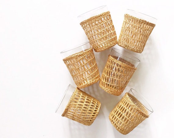 vintage wicker rattan glass drinking cup tumbler set of 6 / cup holders / inserts