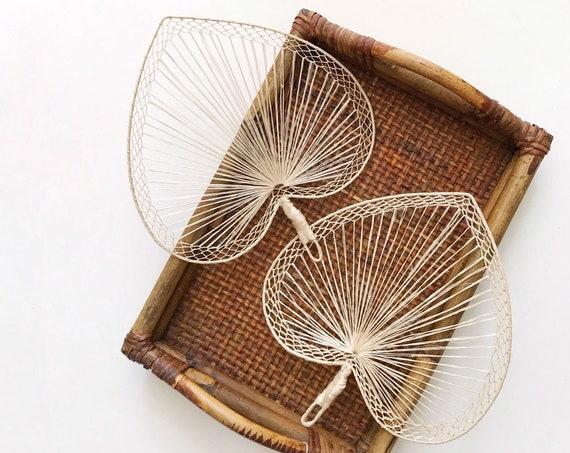 vintage delicate woven straw heart fan / wall hanging basket