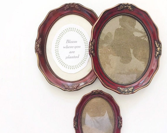 set of 3 wall hanging ornate faux wood picture frame | victorian home decor