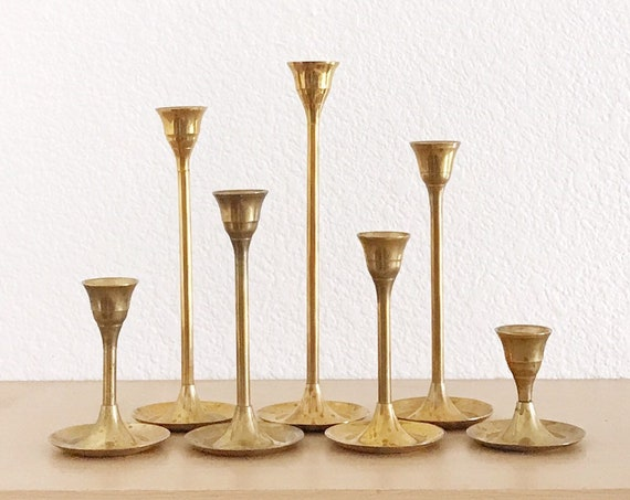 vintage solid brass tulip candle holder votives with candles / set of 7