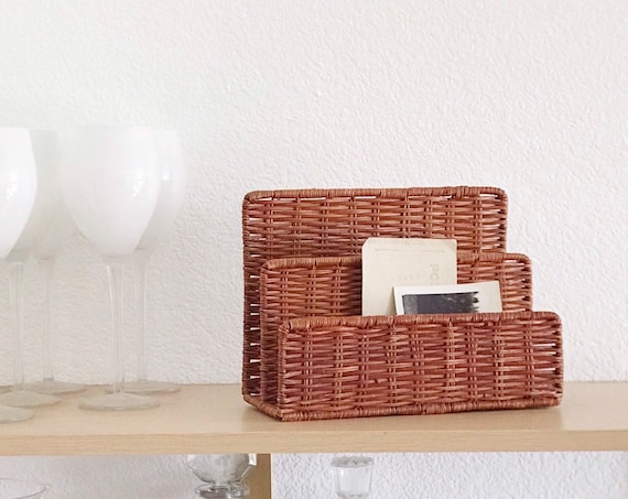 vintage woven wicker office file storage / divided note holder / letter mail sorter