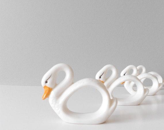 vintage white porcelain ceramic swan bird napkin ring holders / kitchen housewarming gift / duck figurine