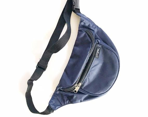 vintage unisex women's dark blue waist pouch purse / fanny pack / travel bag / east sport