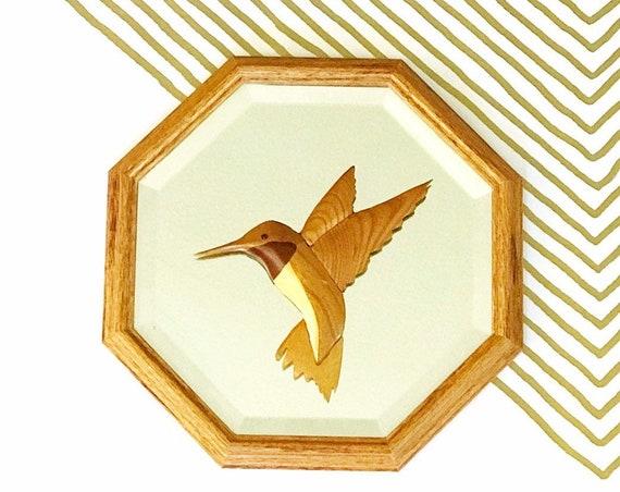 hand carved wooden hummingbird wall hanging mirror | bird sculpture | gift nature lover