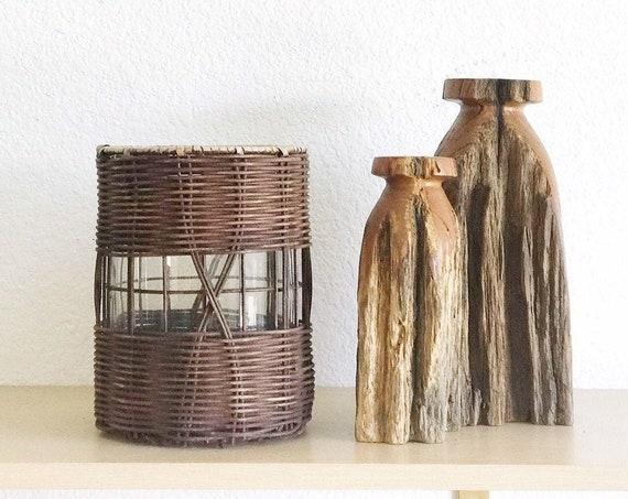 boho woven wicker glass flower vase candleholder | glass pot planter