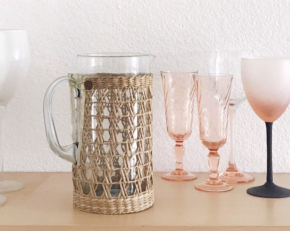 woven straw glass juice pitcher | drinking water jar with handle