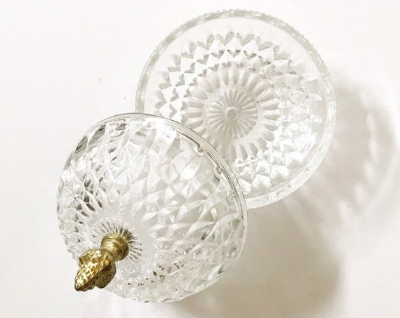 victorian clear glass crystal ball candy dish with acorn knob | kitchen storage container bowl