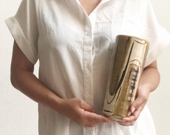 yellow mustard modernist ceramic cylinder flower vase