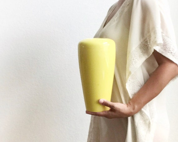 1990s bright yellow modernist pop ceramic flower vase