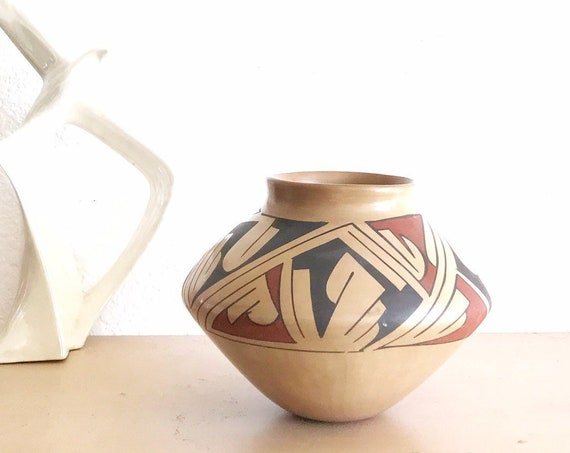 mid century geometric native american hand painted pottery vase pitcher / wedding