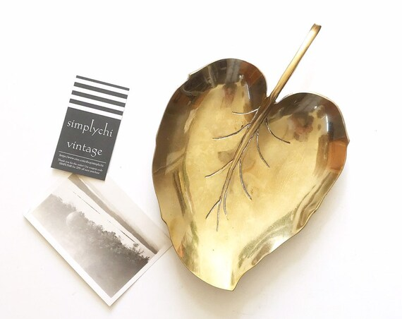 solid brass leaf shaped dish plate sculpture / hollywood regency serving bowl business cardholder
