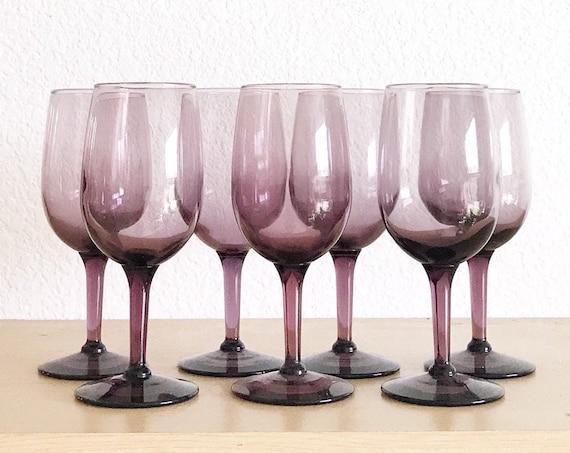 set of 6 libbey amethyst violet purple glass champagne wine stemware / smokey glass goblets