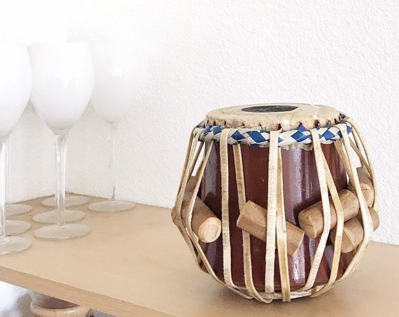 asian handmade vintage stoneware ceramic moroccan pottery drum / Tabla drum / boho home decor