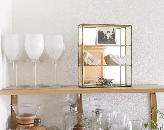 large wall hanginb geometric glass brass mirror curio cabinet / trinket display box / tiered