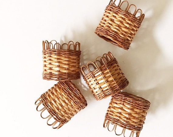 woven wicker rattan drinking cup insert holder set of 5 | gift barware