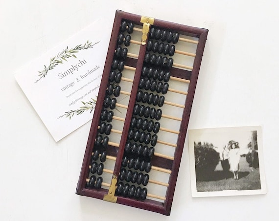mid century vintage chinese wooden black abacus counter / counting numbers