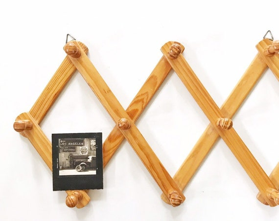 regular size wood accordion wood peg wall hanging rack // hat display storage // organizer