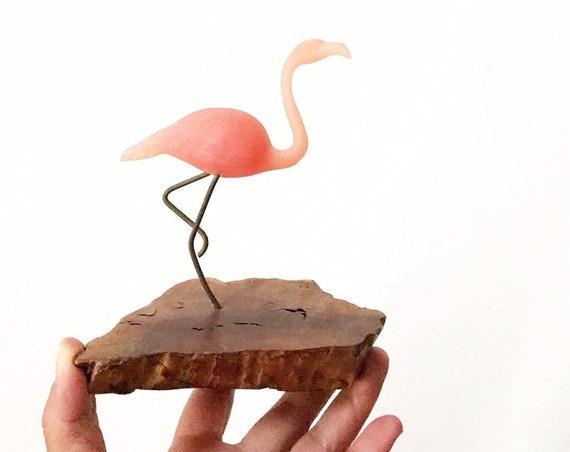 mid century modern 1980s John Perry pink flamingo sculpture figutine on burl wood