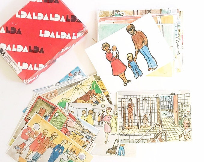 80 old fashion colored family people picture flascards   set of school teaching cards